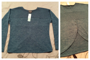 Cute blue sweater with button detail in the back
